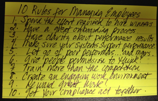 Everything you need to know about Managing Employees on an Index Card
